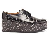 Flower-studded Leather Platform Derby Shoes