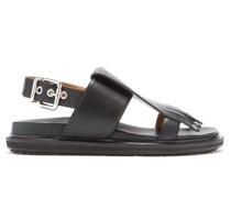 Fringed Leather Slingback Sandals