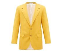 Roped-shoulder Linen-blend Suit Jacket