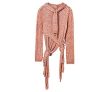 Scarf-neck Knotted Sequinned Sweater