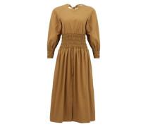 Arianna Smocked Cotton-poplin Midi Dress