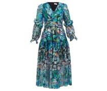 Floral-print Metallic Silk-georgette Midi Dress