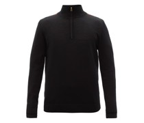Artist Stripe Merino-wool Quarter-zip Sweater