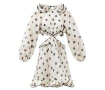 Lovestruck Ruffled Polka-dot Linen-blend Dress