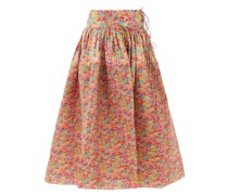 Toga Pintucked Floral-print Cotton Skirt
