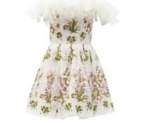 Off-the-shoulder Floral-tulle Mini Dress