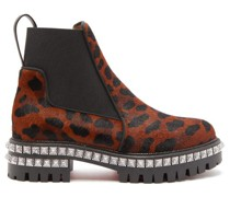 By The River Studded Leopard-print Calf-hair Boots