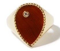 Diamond, Tiger's Eye & 9kt Gold Signet Ring