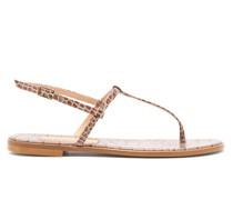 St. Lucia T-bar Crocodile-effect Leather Sandals
