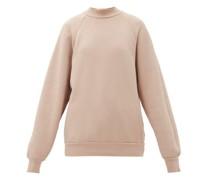High-neck Brushed-back Cotton Sweatshirt