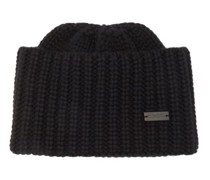 Logo-plaque Ribbed-knit Cashmere Beanie Hat