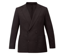Leon Double-breasted Fresco-wool Suit Jacket
