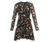 Gathered Floral-print Silk-georgette Mini Dress