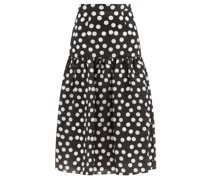 Polka-dot Silk-organza Midi Skirt