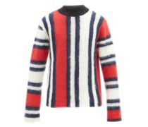 Intarsia-striped Mohair-blend Sweater