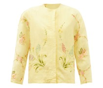Ilana Upcycled Floral-embroidered Linen Jacket