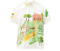Countryside-painted Short-sleeved Cotton Shirt
