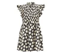 Arline Smocked Polka-dot Cotton-poplin Mini Dress