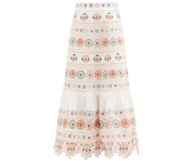 Brighton Floral-embroidered Cotton Midi Skirt