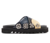 Crossover-strap Leather Slides
