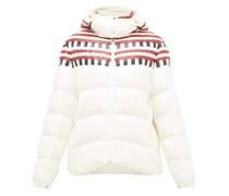 Evelyn Colour-block Quilted Down Hooded Jacket