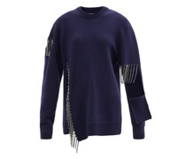 Crystal-fringe Cut-out Wool Sweater