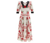 Rose-print Silk-crepe Dress