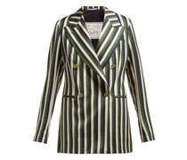 The Stella Double-breasted Striped Wool Blazer