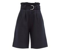Paperbag-waist Wool-blend Bermuda Shorts