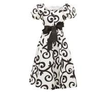 Belted Swirl-print Cloqué Dress