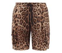 Leopard-print Cotton Cargo Shorts