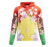 Floral Logo-print Cotton-blend Hooded Sweatshirt