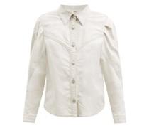 Leona Pleated-sleeve Denim Western Shirt