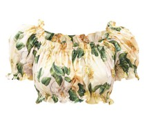Floral-print Cotton-poplin Cropped Top
