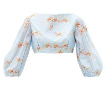 Mai Floral-print Balloon-sleeve Cotton Cropped Top