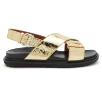Fussbett Crackled-effect Leather Sandals