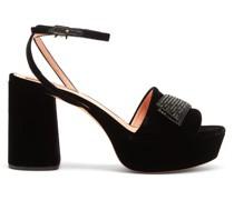 Crystal-embellished Velvet Platform Sandals