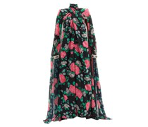 Rose Cape-sleeve Floral-print Chiffon Gown
