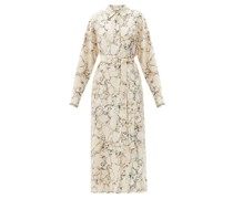 Belted Marble-print Silk Shirtdress