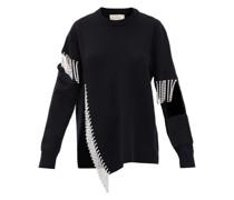 Crystal-embellished Keyhole Wool Sweater