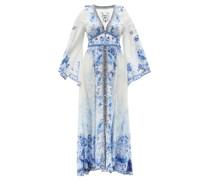 Plunge-neck High Tea-print Silk Maxi Dress