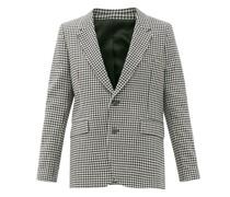 Single-breasted Shepherd-check Wool-blend Jacket