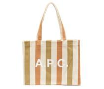 Diane Logo-print Striped Canvas Tote Bag