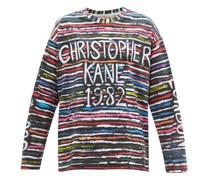 1982 Striped-logo Print Cotton-jersey T-shirt