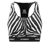 Racerback Zebra-print Jersey Cropped Top