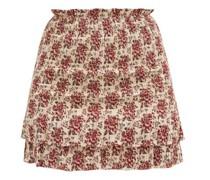 Floré Floral-jacquard Shirred Cotton-blend Skirt