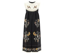 Heavenly Swallows Embroidered Linen Midi Dress