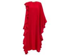 Waterfall-flounce Cape-sleeve Silk-crepe Gown
