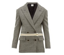 Detachable-hem Houndstooth Wool Jacket