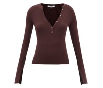 Ribbed Wool-blend Henley Top